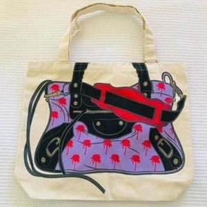 My Other Bag Purple Palm Tree Canvas Tote Purse